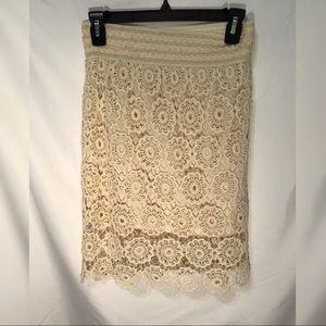 Cream Lace Crochet Pencil Skirt